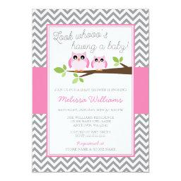 Pink Owl Gray Chevron Girl Baby Shower