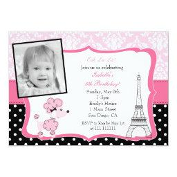 Pink Poodle In Paris Photo Birthday Invitations