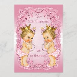 Pink Princess Twins With Pearls Baby Shower Invitation