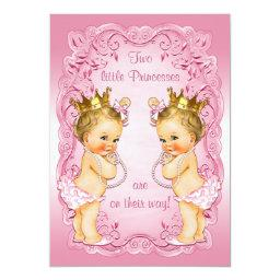 Pink Princess Twins With Pearls Baby Shower Invitations