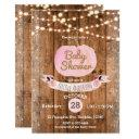 Pink Pumpkin Fall Rustic Wood Lights Baby Shower Invitation
