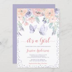 Pink Purple Floral Butterfly Girl Baby Shower Invitation