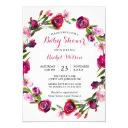 Pink Rose Romantic Floral Baby Shower Invite