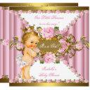 Pink Roses White Gold Princess Baby Shower Blonde Invitation