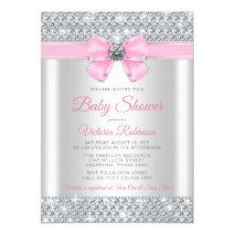 Pink Silver Bling Glam Baby Girl Shower Invitation