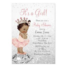 Pink Silver Princess African American Baby Shower Invitations