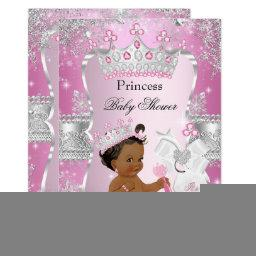 Pink Silver Princess Baby Shower Ethnic Invitation