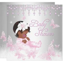 Pink Silver Sprinkle Butterfly Baby Shower Ethnic