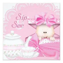Pink Sip and See Baby Girl Shower