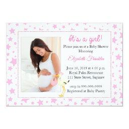 Pink Star Photo It's A Girl Baby Shower Invitations