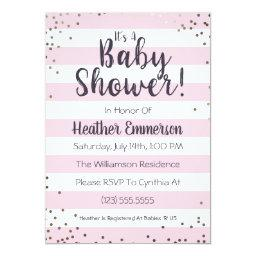 Pink Stripes & Glitter Baby Shower Invitations