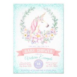 Pink Teal Unicorn Baby Shower