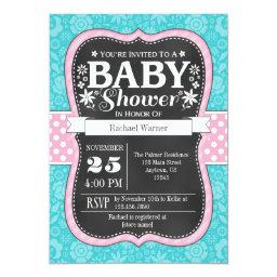 Pink Turquoise Chalkboard Floral Baby Shower