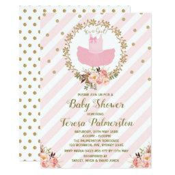 Pink Tutu Baby Shower Invitation Ballerina Ballet