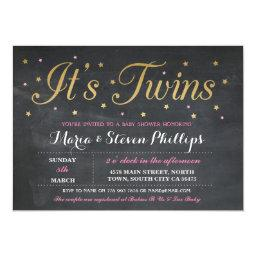 Pink Twins Girl Chalk Gold Baby Shower Invite