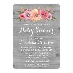 Pink Watercolor Floral Rustic Wood Baby Shower