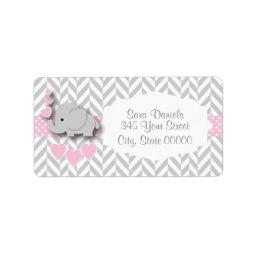 Pink, White and Gray Elephant Baby Shower Label