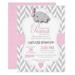 Pink, White Gray Elephant 🐘 Baby Shower 2 Invitation