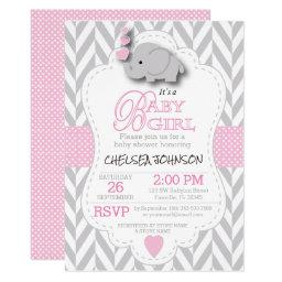 Pink, White Gray Elephant 🐘 Baby Shower Invitations