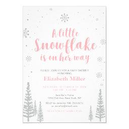 Pink Winter Wonderland, Girl Baby Shower/sprinkle Invitations