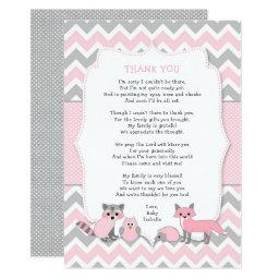 Pink Woodland Animal Baby Shower Thank You Note Invitation