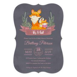 Pink Woodland Fox Girl Baby Shower Invitation