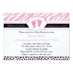 Pink Zebra Leopard Feet Baby Shower