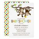 Playful Monkeys Twins Baby Shower Invitations