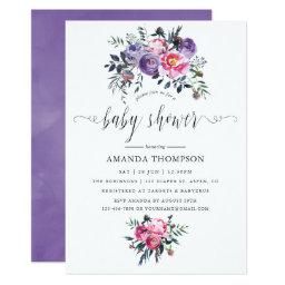 Plum And Pink Watercolor Floral Baby Shower Invitation