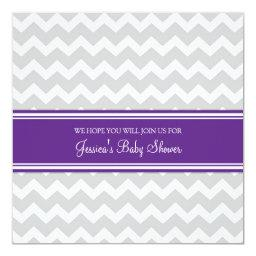 Plum Gray Chevron Custom Baby Shower