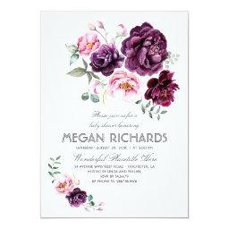 Plum Purple Floral Watercolor Boho Baby Shower Invitations