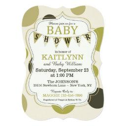 Polka-dot and Bunting Modern Baby Shower Invites