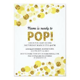 Pop Gender Reveal  Yellow Gold Invite
