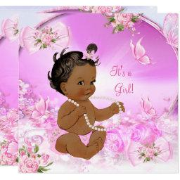 Pretty Girl Baby Shower Pink Butterfly Ethnic