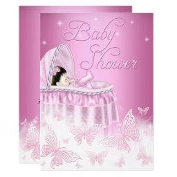 Pretty Pink Sparkle Butterfly Girl Baby Shower