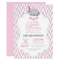 Pretty Pink, White Gray Elephant Baby Shower 2