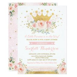 Pretty Princess Baby Girl Shower Blush Pink Floral Invitation