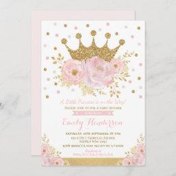 Pretty Princess Gold Crown Pink Floral Baby Shower Invitation