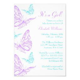 Pretty Purple Teal Butterfly Girl Baby Shower