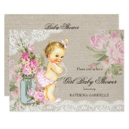 Pretty Shabby Lace Floral Girl Baby Shower Blonde Invitations