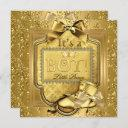 Prince Baby Shower Baby Boy Elite Damask Gold 2 Invitation