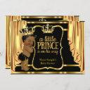 Prince Baby Shower Black Gold Drapes Ethnic Invitation