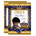 Prince Baby Shower Blue Gold African American Foil