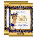 Prince Baby Shower Blue Ornate Gold Blonde Boy Invitation