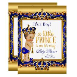 Prince Baby Shower Blue Ornate Gold Brunette Boy