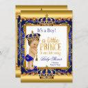 Prince Baby Shower Blue Ornate Gold Brunette Boy Invitation