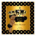 Prince Baby Shower Boy Black Gold Ethnic Invitation