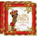 Prince Baby Shower Boy Red Gold White Ethnic Invitations