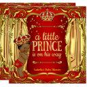 Prince Baby Shower Red Gold African American Invitation