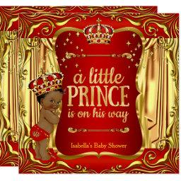 Prince Baby Shower Red Gold African American